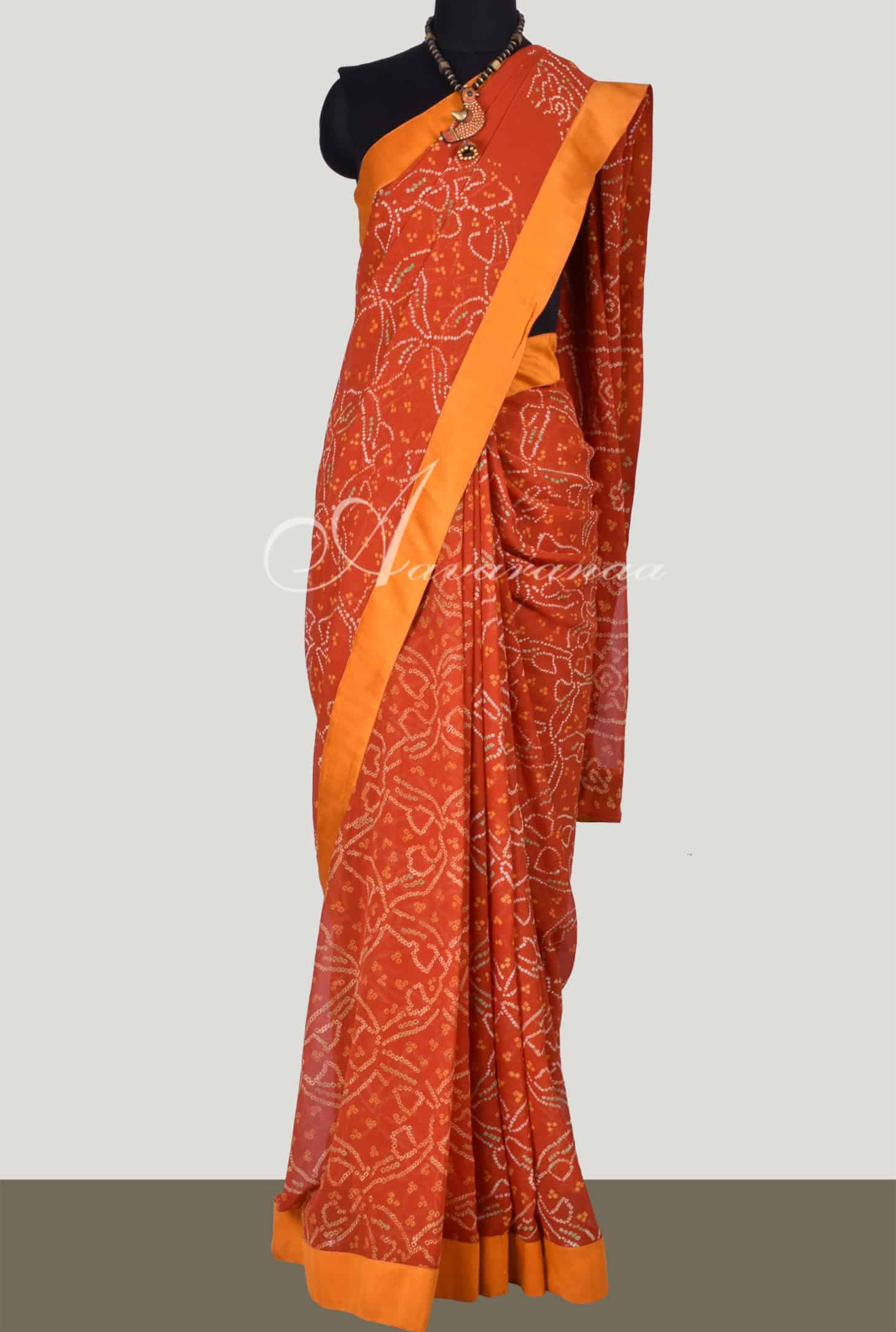 a246c2bb283b2 Saree Burnt Orange Bandhini With Embroidered Blouse