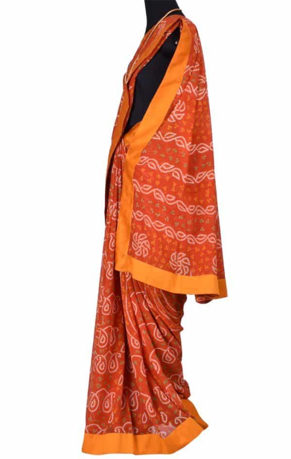 Orange bandhini saree with embroidered blouse-6522