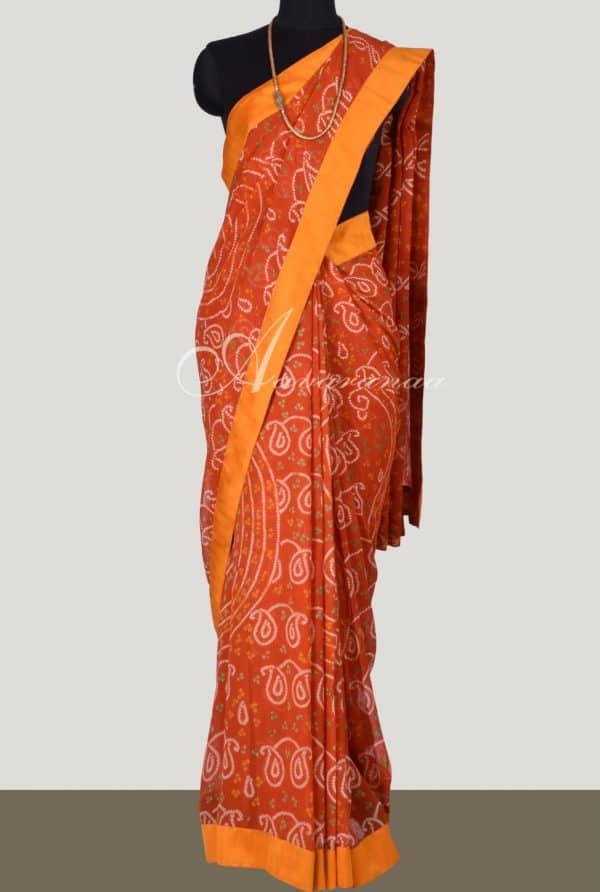 Orange bandhini saree with embroidered blouse-0