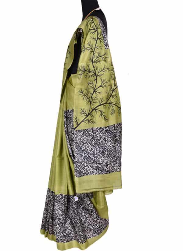 Apple green tussar silk-6086