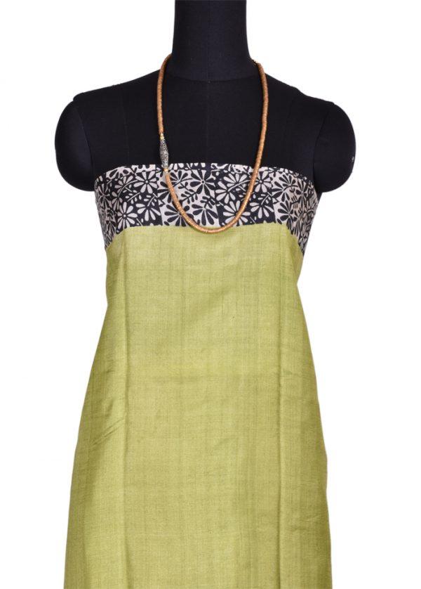 Apple green tussar silk-6087