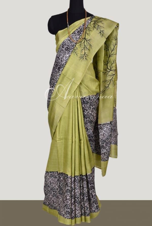 Apple green tussar silk-0