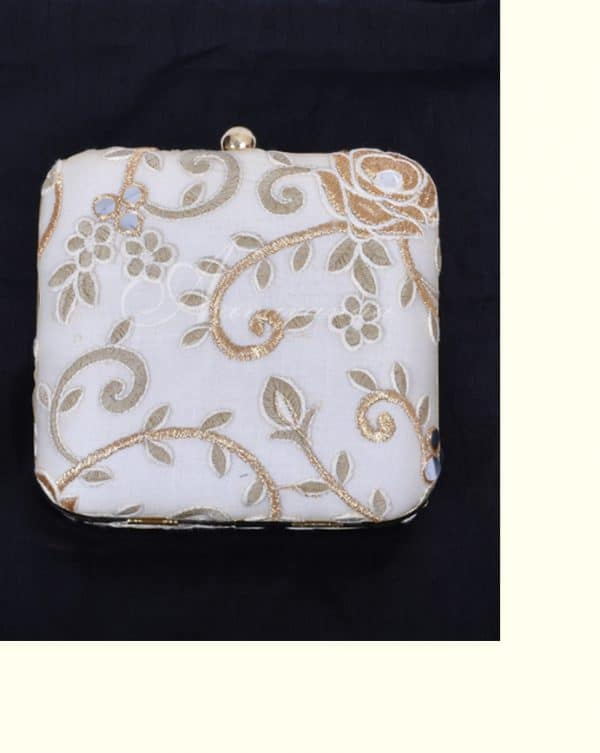 White embroidered box clutch-6531