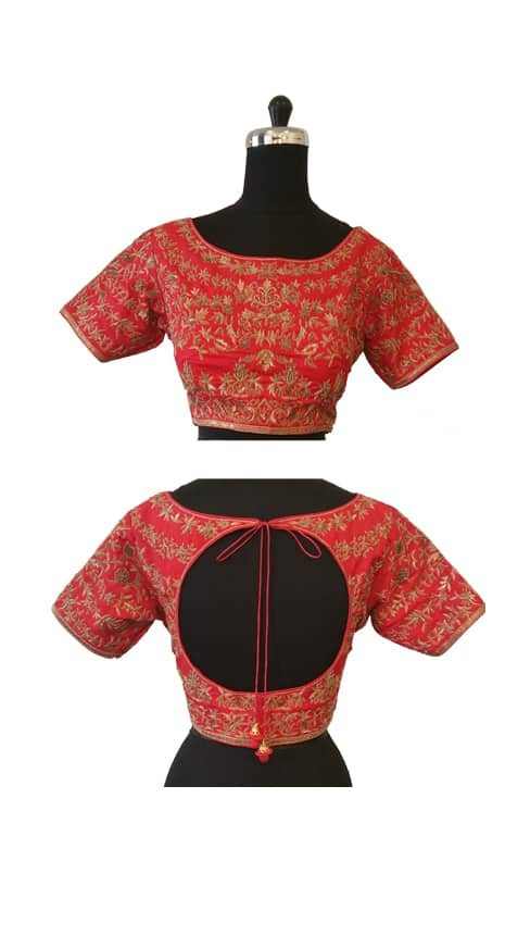 Embroidered red blouse-0