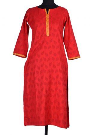 Red cotton kurta-0