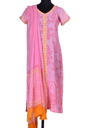 Pink cotton suit-7123