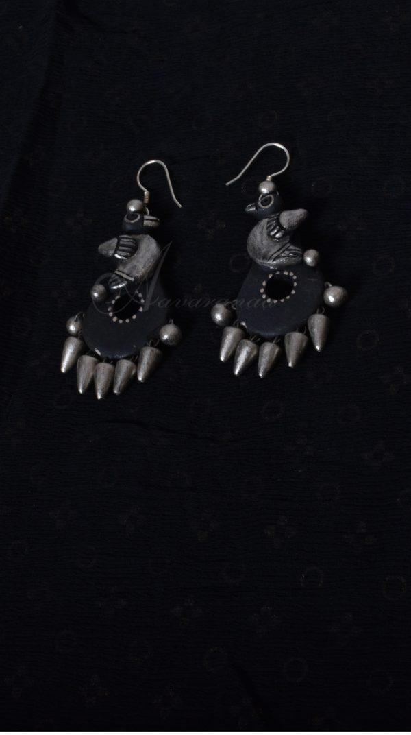 Black an silver bird design ear drop-0