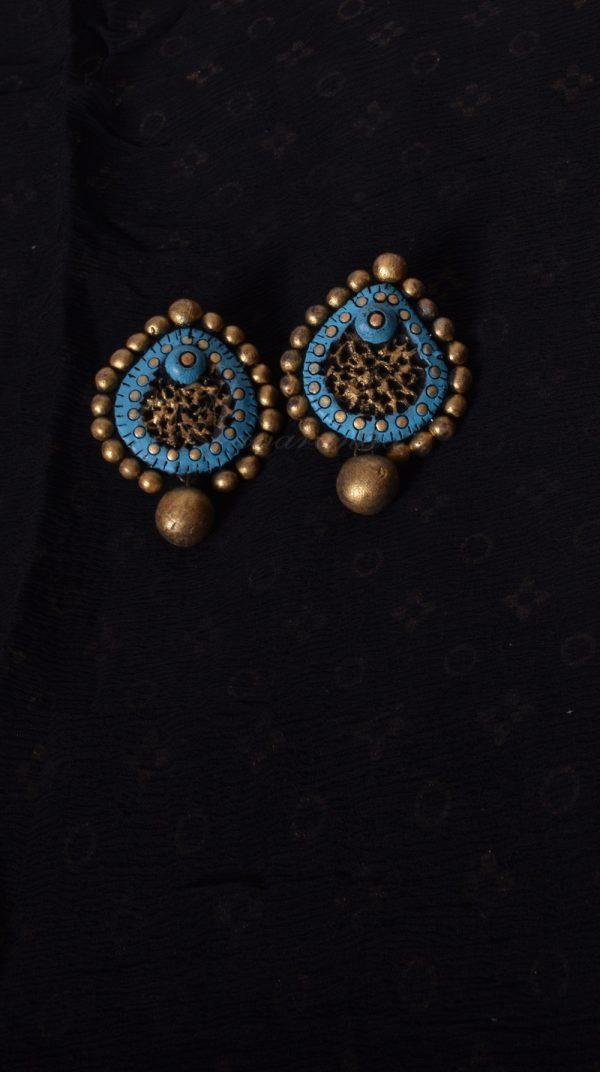 Hand crafted Blue Terracotta Earring | Aavaranaa-0