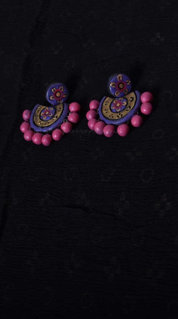 Hand Crafted Terracotta Purple Colored Terracotta Earring | Aavaranaa-0