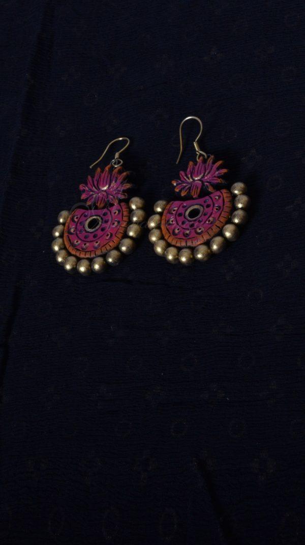 Pink color lotus ear drop-0