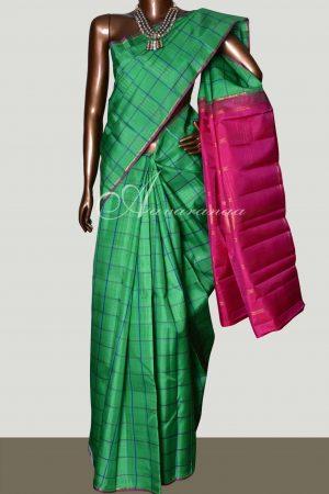 Green checked kanchipuram silk saree -0