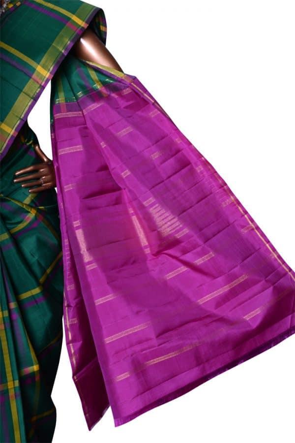 Bottle green checks kanchipuram silk saree-7214