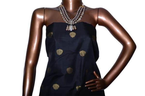 Black and green long border kanchipuram silk saree-7269
