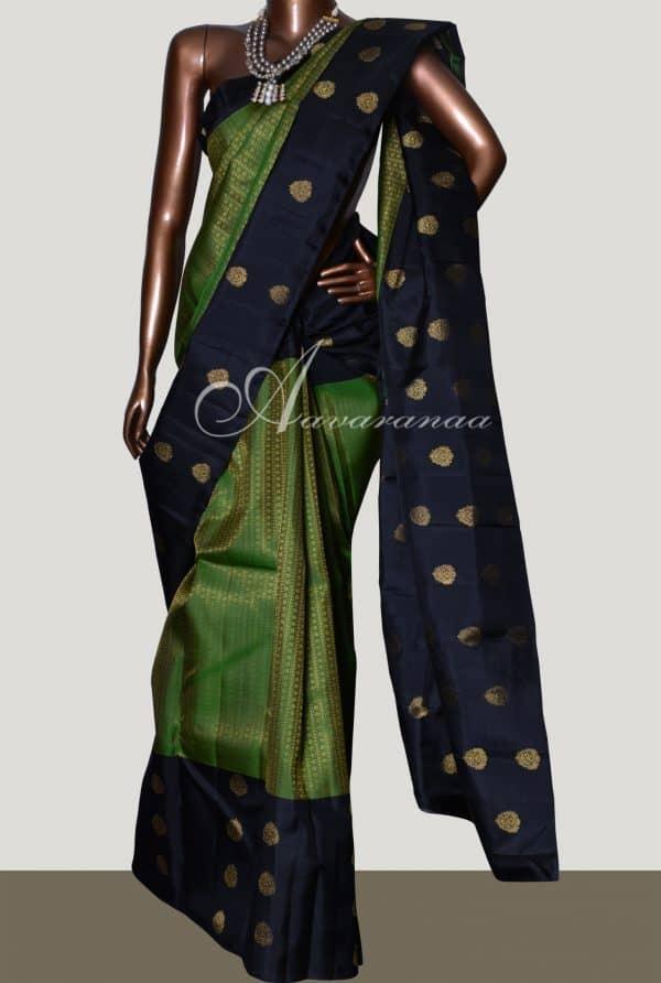 Black and green long border kanchipuram silk saree-0