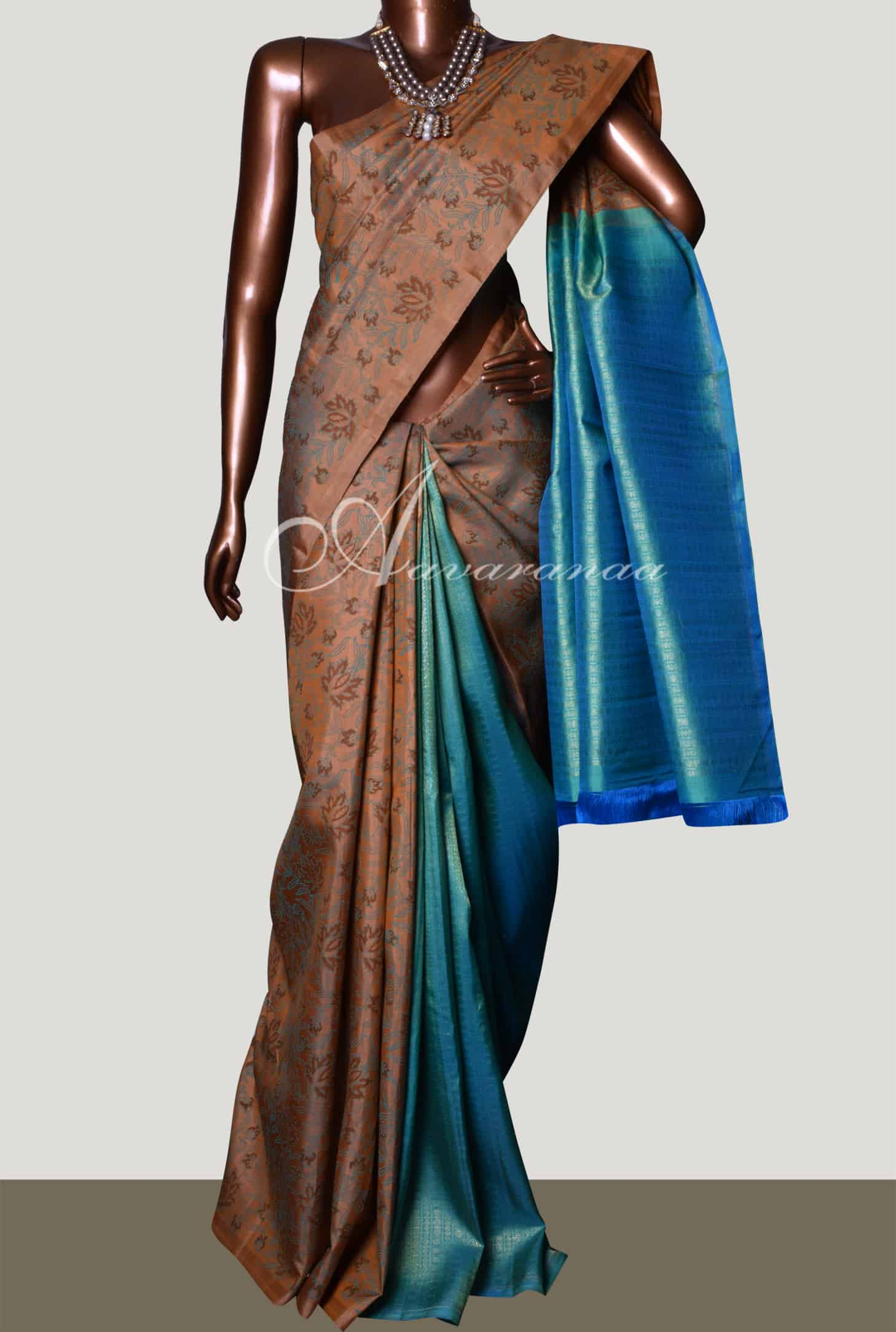 bb8a2233797 Saree Beige and blue partly pallu kanchipuram block printed saree ...