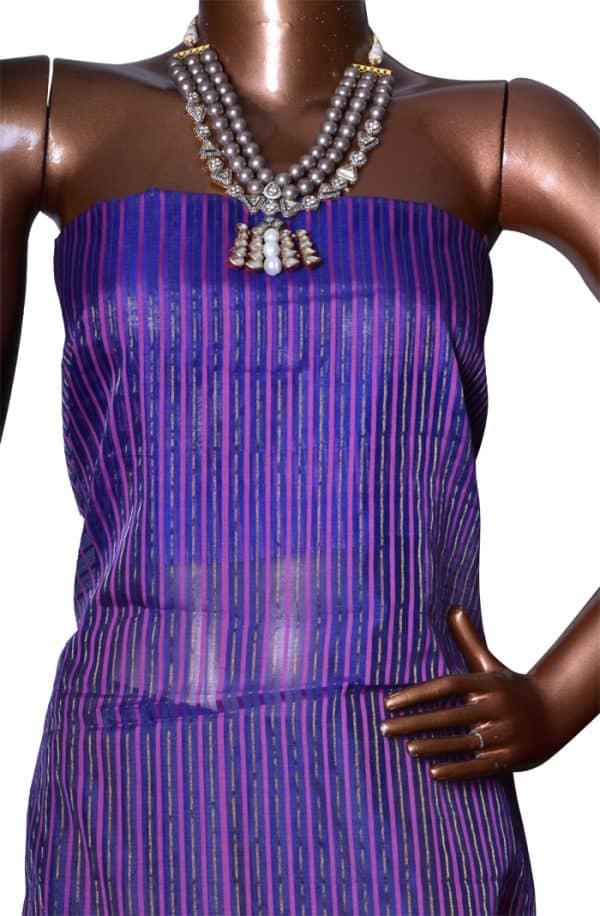 Dark pink with gold and blue satin border silk kota saree-7519