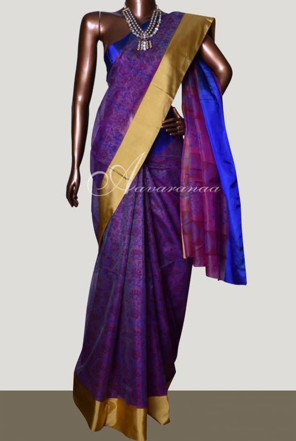 Dark pink with gold and blue satin border silk kota saree-0