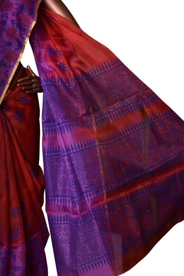 Red and violet 1/2&1/2 shaded silk kota saree-7532
