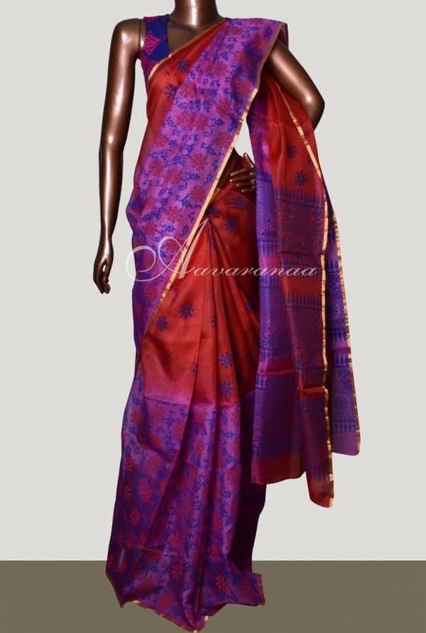 Red and violet 1/2&1/2 shaded silk kota saree-0