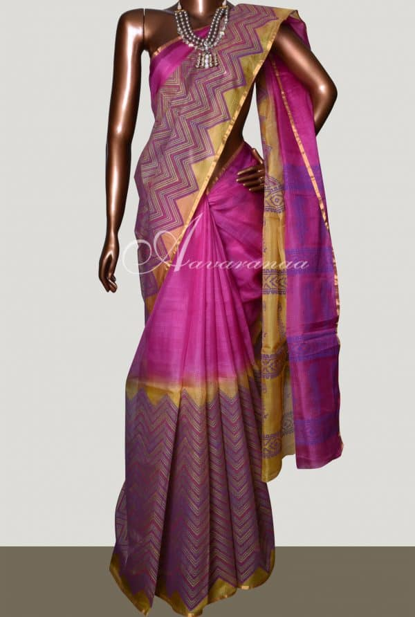 Pink & Mustard 1/2 &1/2 shaded silk kota saree -0