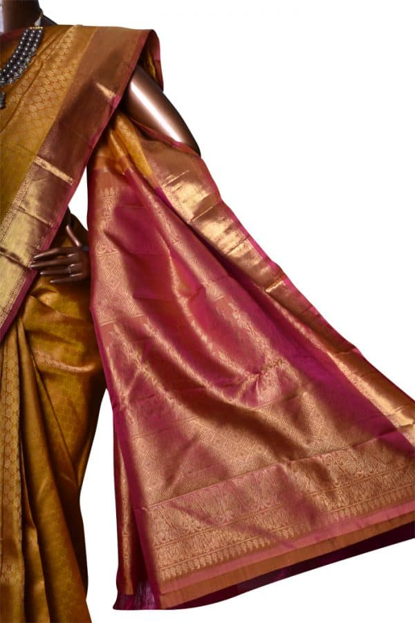 Mustard & Pink bridal kanchipuram silk saree-7543