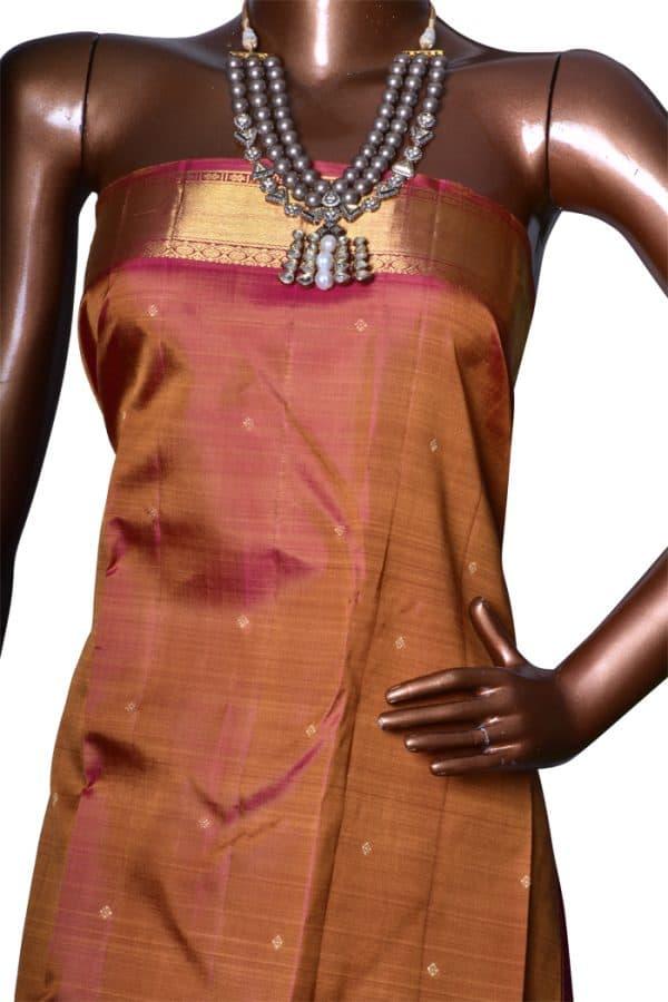 Mustard & Pink bridal kanchipuram silk saree-7544