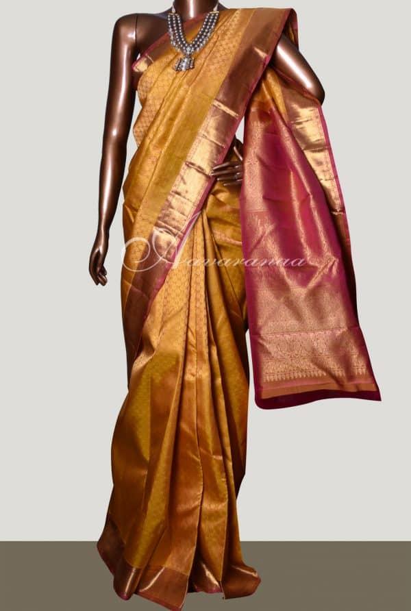 Mustard & Pink bridal kanchipuram silk saree-0