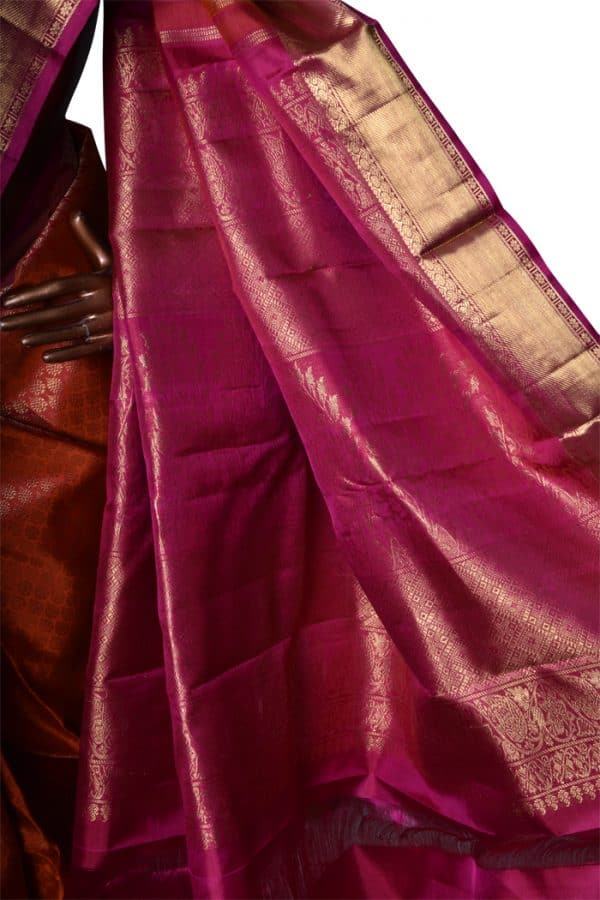 Orange and pink bridal kanchipuram silk saree-7550