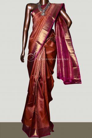 Orange and pink bridal kanchipuram silk saree-0
