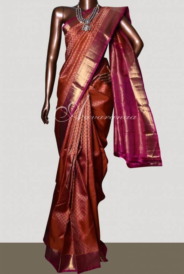 Orange and pink bridal kanchipuram silk saree-0