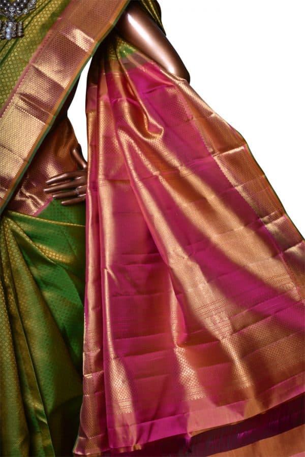 Green kanchipuram bridal silk saree-7573