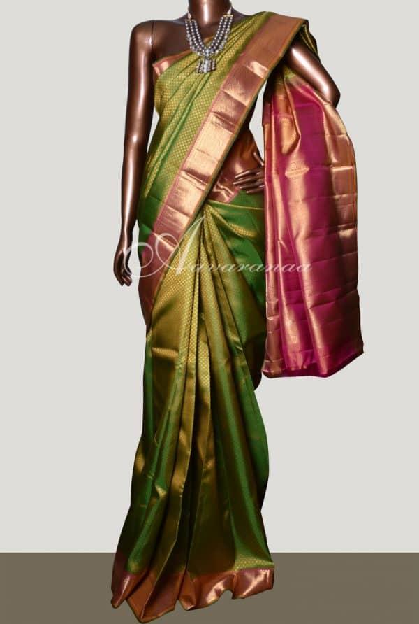 Green kanchipuram bridal silk saree-0