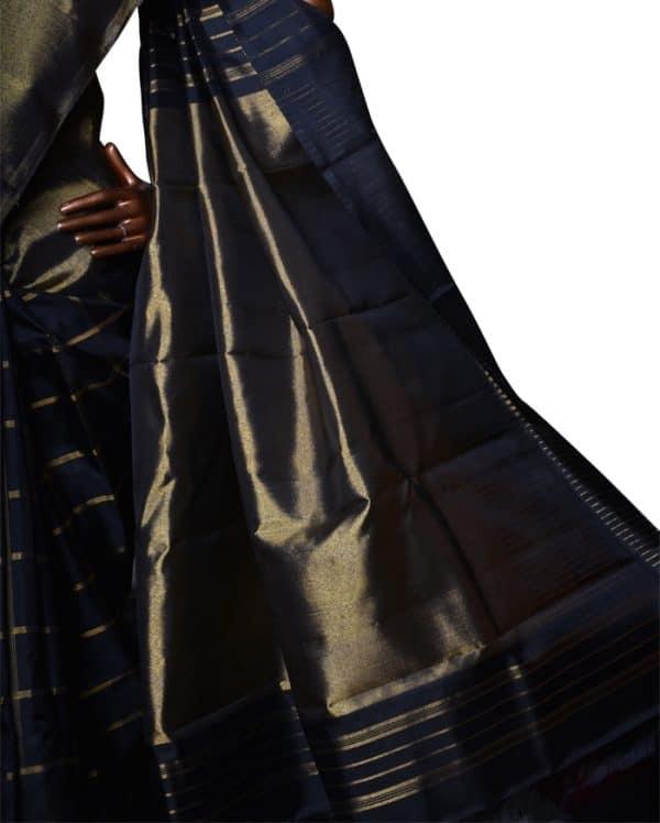 Black kanchipuram silk saree with bavanji border-7585