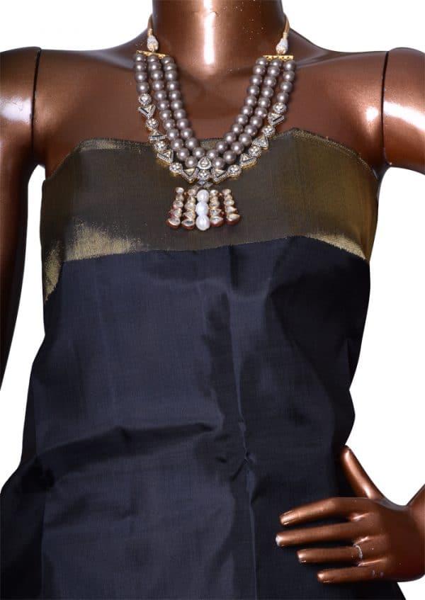 Black kanchipuram silk saree with bavanji border-7586