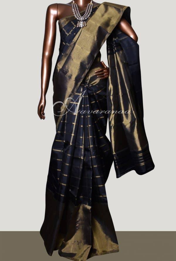 Black kanchipuram silk saree with bavanji border-0