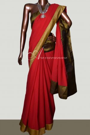 Red Chiffon saree with brocade blouse-0