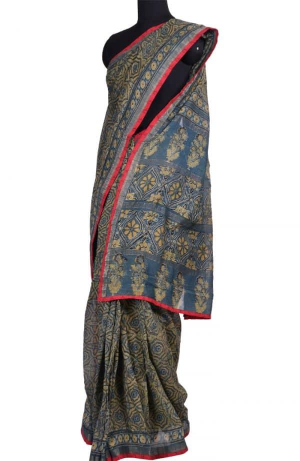 Dark Grey Maheshwari Saree - Mustard Block Prints | Aavaranaa-0