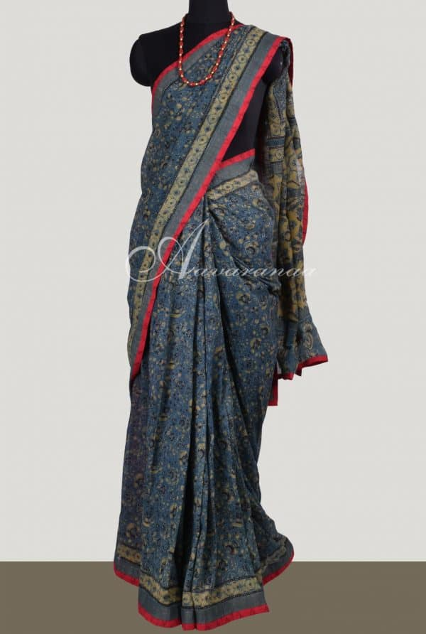 Dark Grey Maheshwari Saree - Beige Block Prints | Aavaranaa-0