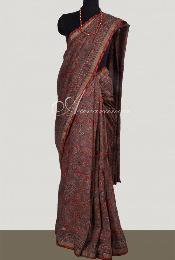 Light brown Maheshwari saree-0