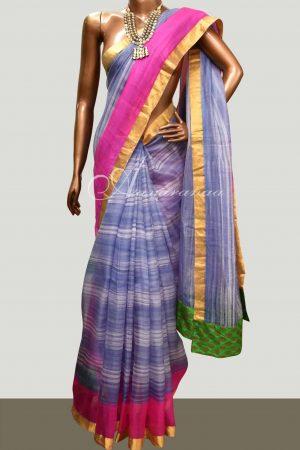 Grey striped silk kota saree-0