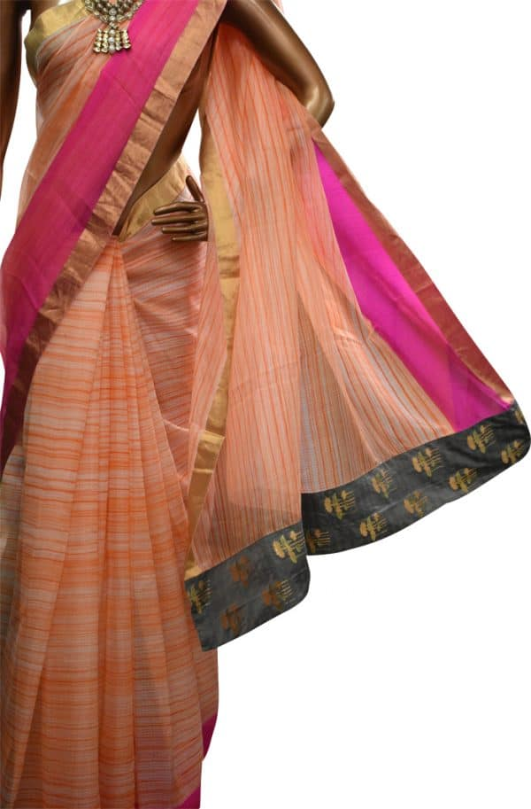 Striped silk kota saree in orange -7702