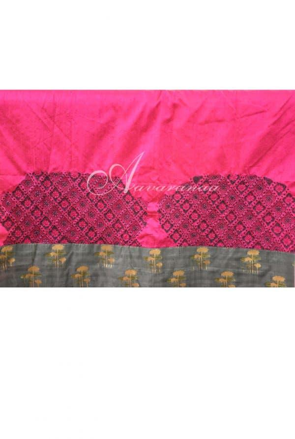 Striped silk kota saree in orange -7701