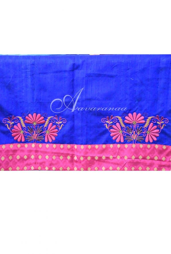 Blue striped silk kota saree-7708