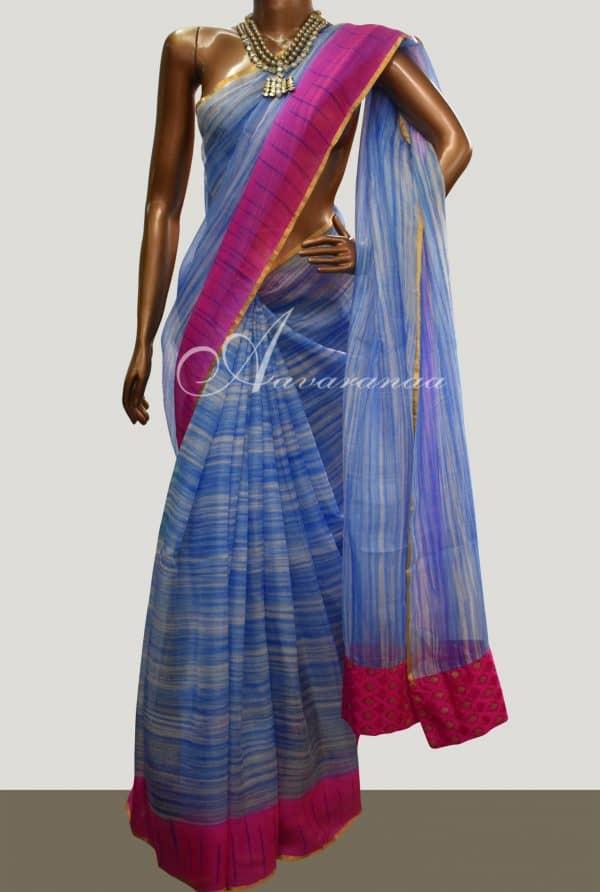 Blue striped silk kota saree-0
