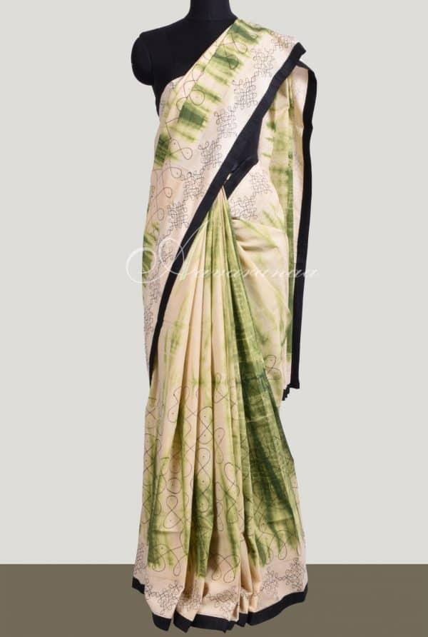 Tie'n'dye and hand painted kalamlari on cotton saree-0