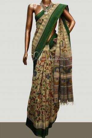 Cotton with silk border kalamkari saree-0