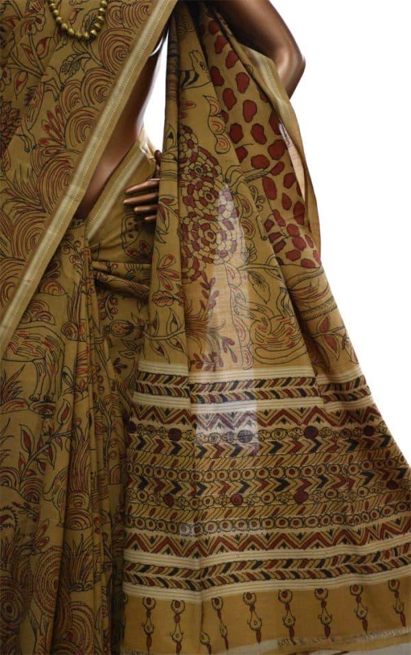 Mangalgiri beige kalamkari saree-8035