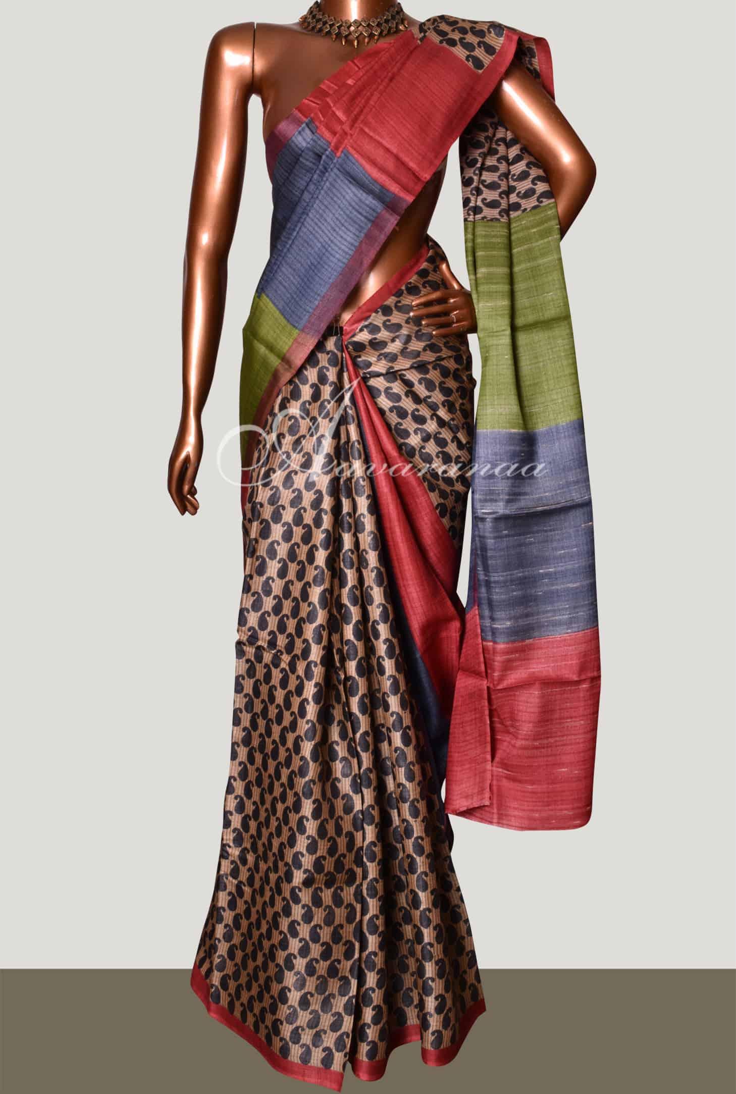 67431dd8b2 Saree Beige Mango Print Tussar Saree | Aavaranaa Sale Online Shopping