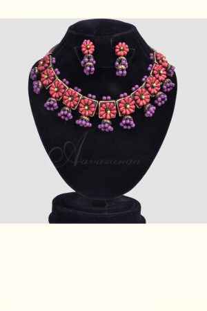 Red and purple terracotta choker-0