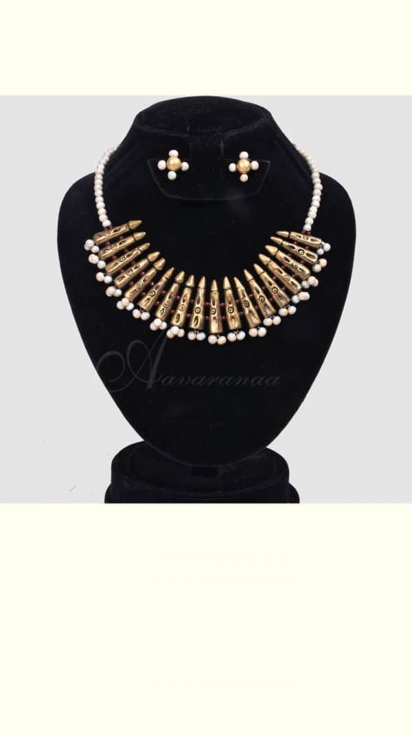 Gold with silver terracotta jewellery-0